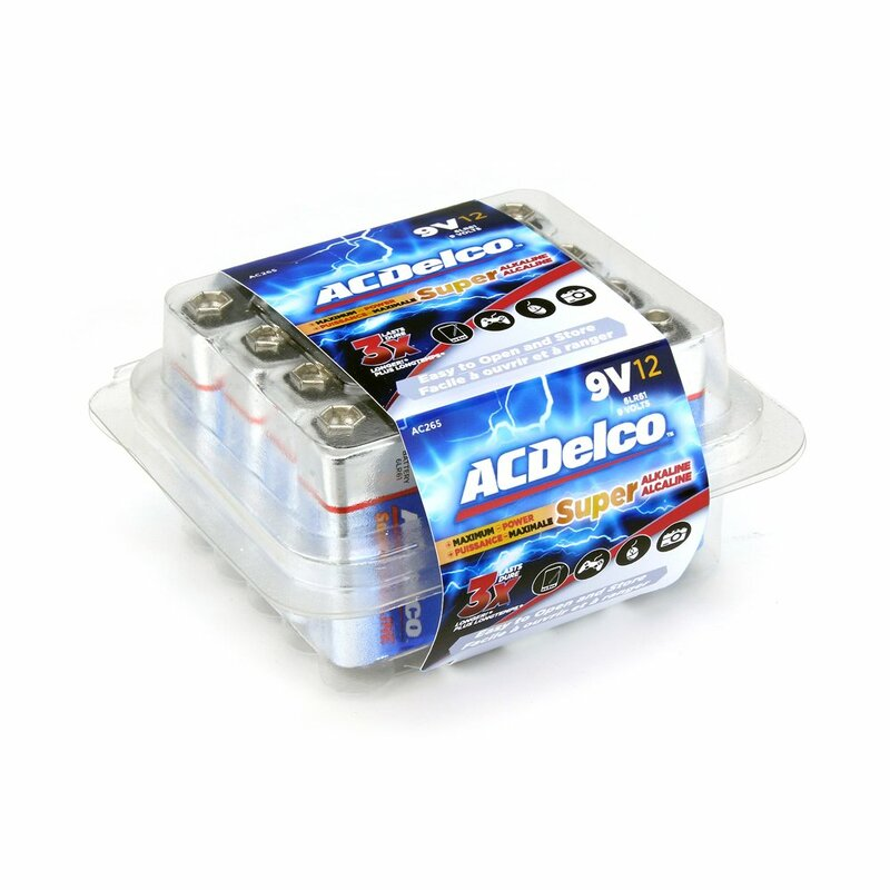 ACDelco 9V Super Alkaline Batteries in Recloseable Package, 12 Count