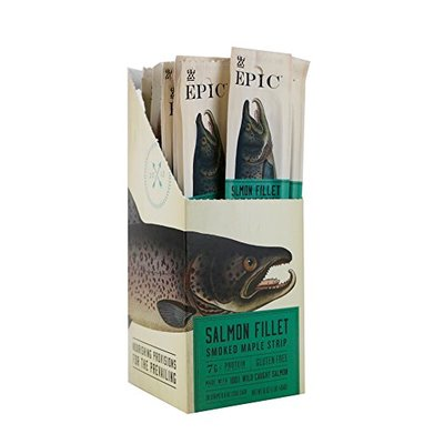 Epic 100% Wild Caught Smoked Maple Salmon Fillet Strip, 0.8 Ounce (Pack of 10)