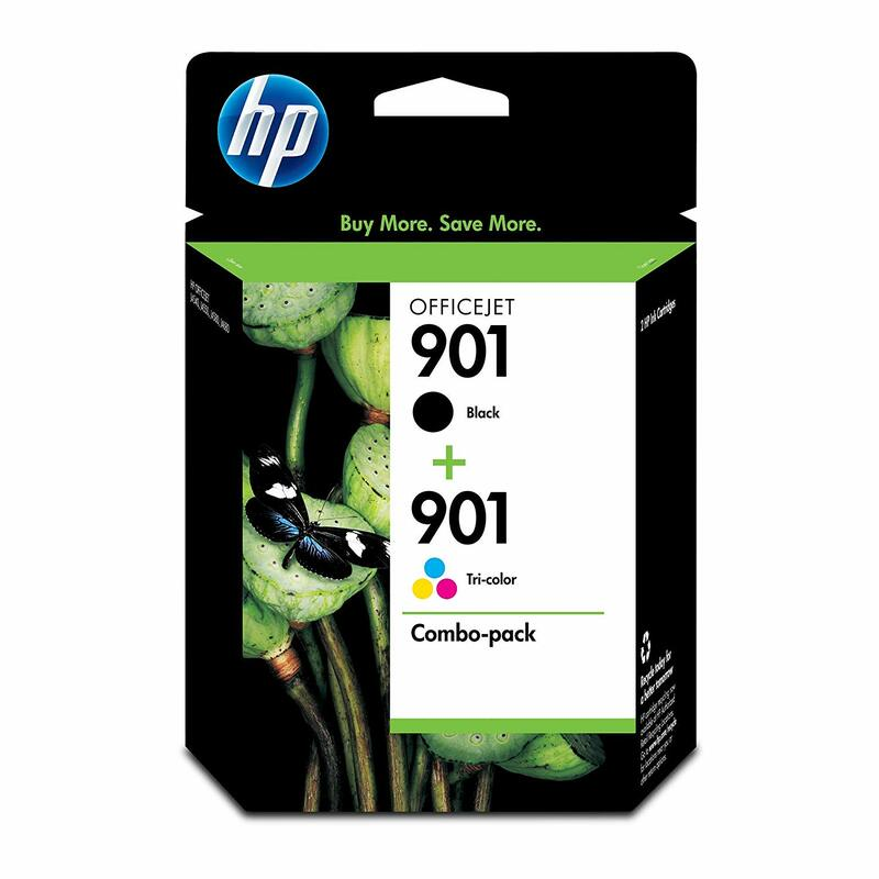 HP 901 Black & Tri-Color Ink Cartridges, 2 Cartridges (CC653AN, CC656AN)