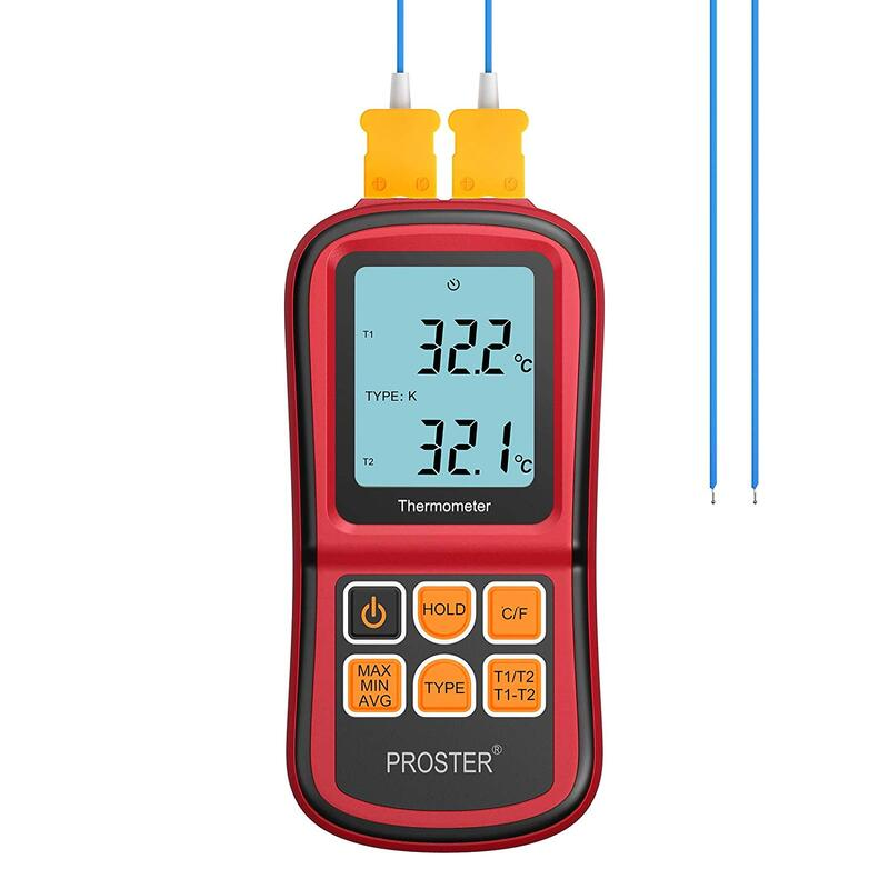 Proster Digital Thermocouple Temperature Thermometer Dual Channel K Type Thermometer Tester LCD Backlight with Two K-Type Thermocouple Probe for K/J/T/E/R/S/N Type