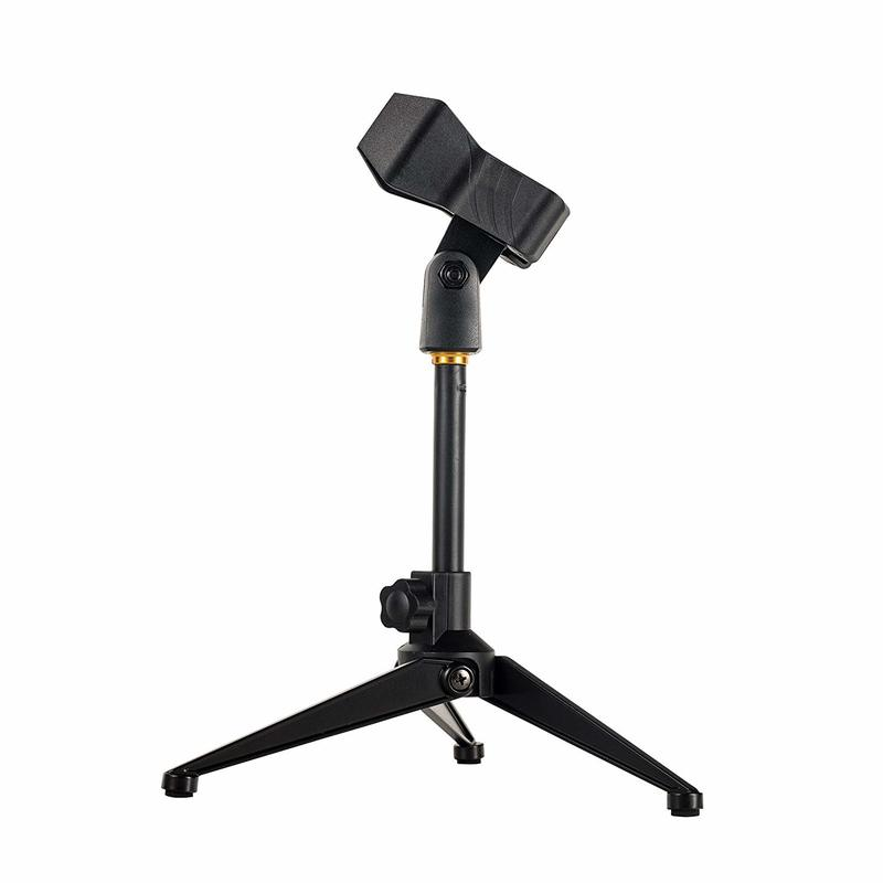Universal Desktop Microphone Stand Adjustable MIC Tabletop Stand with Spring-loaded Microphone Clip such as Sm57 Sm58 Sm86 Sm87