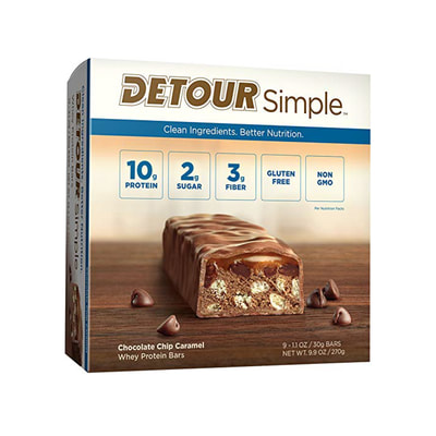 Detour Simple Whey Protein Bar, Chocolate Chip Caramel, 1.1 Ounce, 9 Count