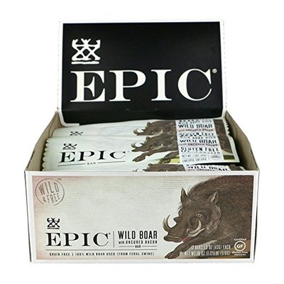 Epic All Natural Meat Bar, 100% Wild, Boar With Uncured Bacon, 1.5 ounce bar, 12 count
