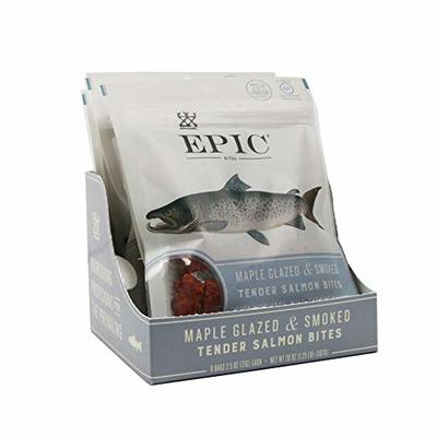 Epic Jerky Bites, 100% Wild Caught, Alaskan Salmon, Maple with Coconut Oil, 2.5 ounce, 8 Count