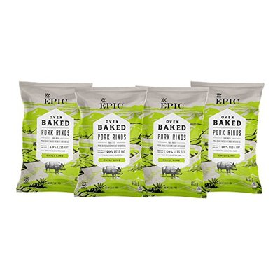 Epic Artisanal Oven Baked Pork Rinds, Chili Lime, 2.5 Ounce, 4 Count