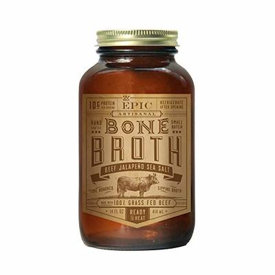 Epic Bone Broth, Beef Jalapeno Sea Salt, 14 Ounce (Pack Of 6)