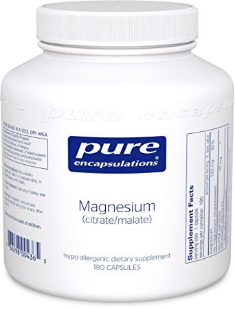 Pure Encapsulations - Magnesium (Citrate/Malate) - Hypoallergenic Supplement Supports Nutrient Utilization and Physiological Functions* - 180 Capsules
